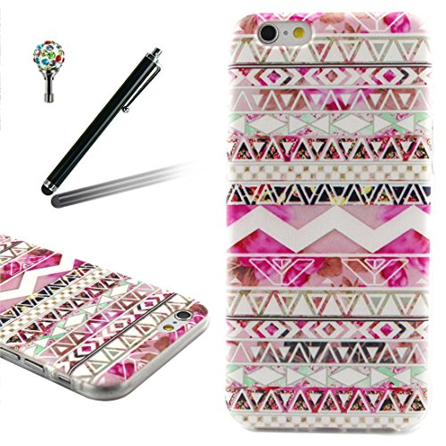 Apple iPhone 6/6S Silicone Coque, Yaking® (3 in 1) Silicone TPU Case Cover Étui Housse pour Apple iPhone 6/6S avec 1 X Stylet + 1 X Strass Bouchon Anti-Poussière P-8