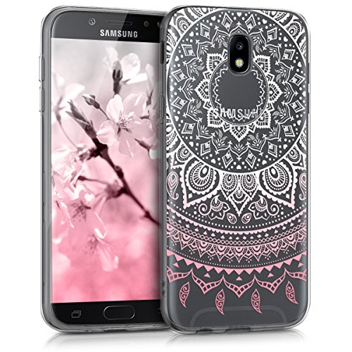 kwmobile Samsung Galaxy J5 (2017) DUOS Hülle - Handyhülle für Samsung Galaxy J5 (2017) DUOS - Handy Case in Rosa Weiß Transparent