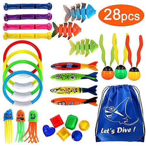 Joinfun 28stk Tauchen Spielzeug Pool Spielzeug Tauchringe Kinder Tauchen Kinder Schwimmbad Spielzeug Torpedo Bandits Tauchbälle Edelstein Tragetasche (28pcs)