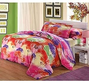 Parure de lit en coton avec housse de couette et drap Couleur arc-en-ciel de luster A115 lit riche
