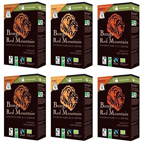 Bonga Red Mountain Bio Wildkaffee Kapseln 6er Set (2 x Espresso, 2 x Ristretto, 2 x Lungo), 330 g -