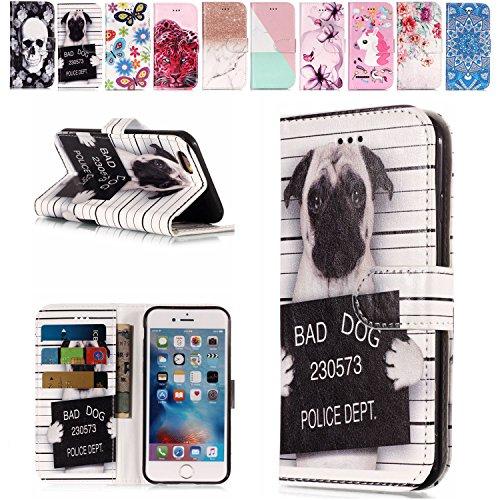 E-Mandala Apple iPhone 5 5S SE Hülle Leder Flip Case Tasche handyhüllen Schutzhülle Lederhülle mit kartenfach klapphülle Handytasche - Hunde