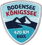 2 x Bodensee-Königssee-Radweg Abzeichen 55 x 60 mm gestickt / Radtour Lindau Berchtesgaden / Aufnäher Aufbügler Flicken Sticker Patch / Fahrrad-Tourenkarte Radtouren-Karte Fahrrad-Führer Rad-Führer