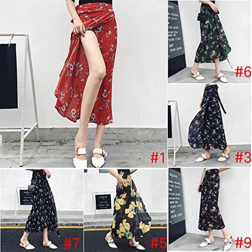 Gogogo Women Chiffon One-Piece Tie Up Long Skirt Bohemian High Waist Floral Wrap Cover Up Dress Boho Beach Skirt