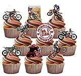 Vater 's Day Motocross Themed Kuchen Dekorationen, essbar Stand-up Cup Cake Topper (Pack von 12)