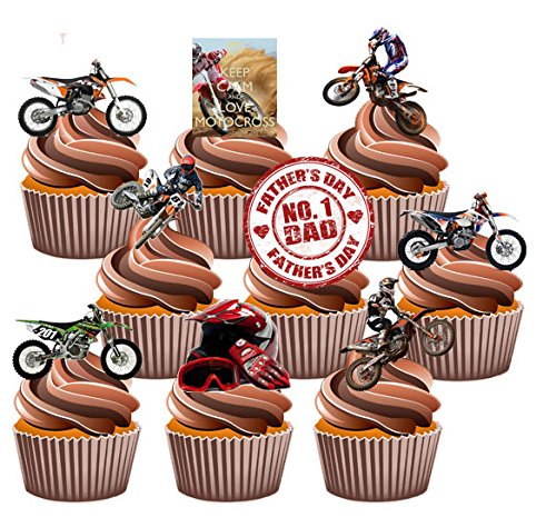 Vater 's Day Motocross Themed Kuchen Dekorationen, essbar Stand-up Cup Cake Topper (Pack von (Birthday Party Billig Supplies)