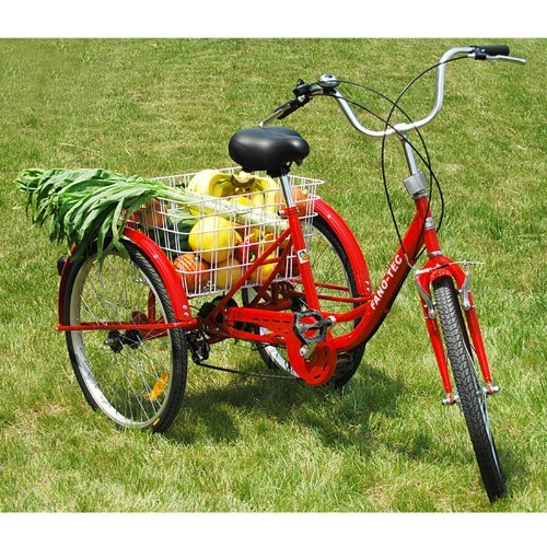 """ZNL FANO-TEC Dreirad Für Erwachsene Lastenfahrrad Erwachsenendreirad 24\"""" 6-Gang-Schaltung Shimano Seniorenrad FT-7009 Rot"""