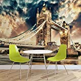 Stadt London Tower Bridge- Forwall - Fototapete - Tapete - Fotomural - Mural Wandbild - (846WM) - XL - 208cm x 146cm - VLIES (EasyInstall) - 2 Pieces