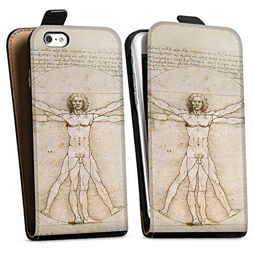 Apple iPhone X Silikon Hülle Case Schutzhülle Leonardo da Vinci The Proportions of Man Kunst Downflip Tasche schwarz