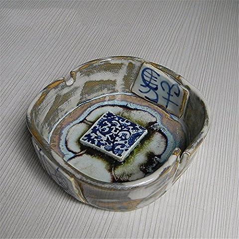 Bleu et blanc antique carreaux cassés personnalité design cendrier céramique