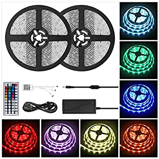 LED Strip Lights, 32.8Ft 10M Dimmable LED Rope Lights IP65 Waterproof 5050 300LEDs RGB Color Changing String Lights Flexible with 44 Keys Remote & 12V Power Supply