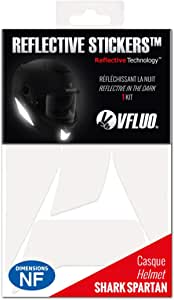 Vfluo Spartan Kit 4 Reflektierende Aufkleber Shark Spartan Kompatibel Mit Allen Motorradhelmen 3m Technology Weiß Auto