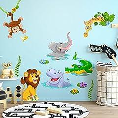 Idea Regalo - wall art R00429 Adesivo murale per bambini Animaletti a mollo - Misure foglio 40x120 cm - Decorazione parete, adesivi per muro, carta da parati