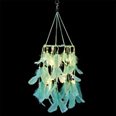 Fancyku Feather Dream Catcher with LED Lights Circular Net for Kids Bed Room Wall Hanging Decoration Decor Ornament Craft