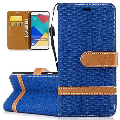 ISAKEN Galaxy A5 2016 Hülle, Canvas PU Leder Geldbörse Wallet Case Handyhülle Tasche Schutzhülle Etui mit Handschlaufe Strap Standfunktion für Samsung Galaxy A5 2016 - Leinen Blau