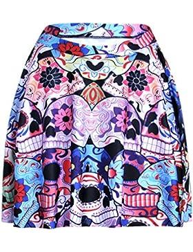 Honghu Verano Classic Ajustada Impresión Mini Plisada Falda para Mujer