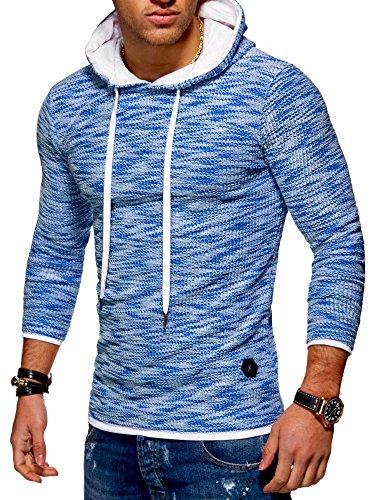 MT Styles Herren 2in1 Feinstrick Hoodie Pullover Kapuzenpullover MT-7427 [Blau, M]