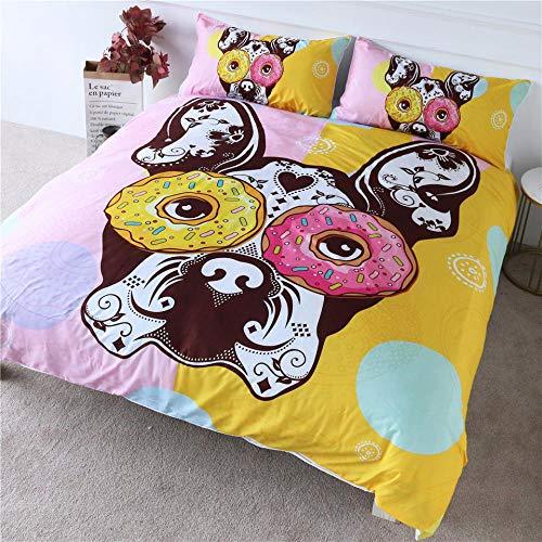 ZMK-720 Cartoon Bettwäsche Set Hippie Bulldog Bettbezug Set Tier Kinder Bettbezug Rosa Gelb Macaron Tagesdecken König 3 Stücke @ 228 * 228 cm -
