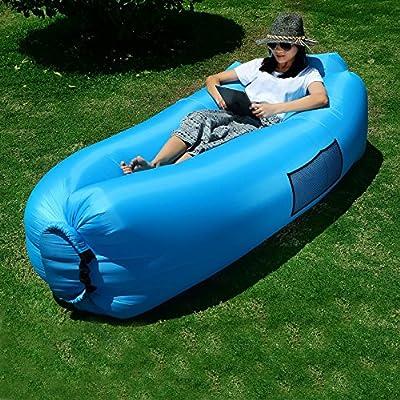 *** 2017 Neues Design --- mit Kissen *** Lifeasy - Outdoor Wasserdichte Aufblasbare Air Sofa Couch Portable Kompression Schlafen Lounger für Camping, Strand, Park, Hinterhof - Blau