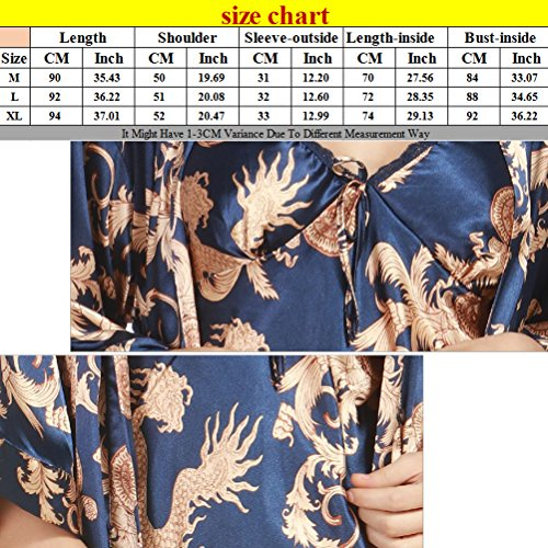 Zhhlaixing Ladies Silk Satin Dressing Gown Long Kimono Robe Set Camel
