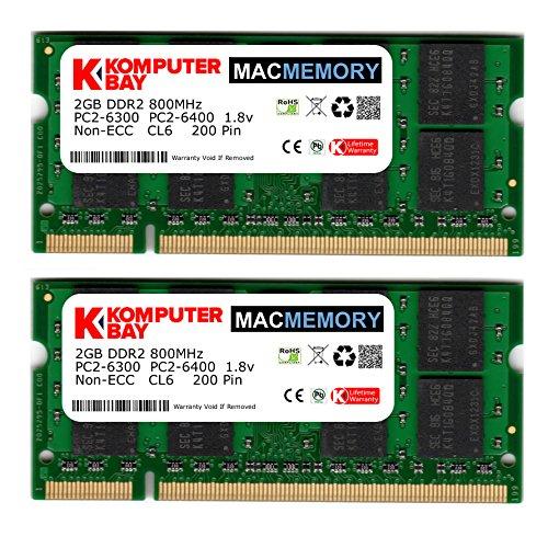 Komputerbay J18 Macmemory Apple Arbeitsspeicher 4GB Kit (2x 2GB Module, PC2-6300, 800MHz, 200-polig) DDR2-SODIMM für Apple iMac und Macbook Speicher Apple 4 Gb Notebook Ram