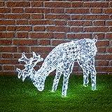 Grasendes Tier, 200 kaltweiße Leds, Höhe 50 cm, Weihnachtsfiguren, 3D Led Figuren, Weihnachtsbeleuchtung Außen