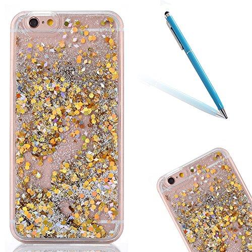 """iPhone 6s Hülle, [Kristallklar Durchsichtig] Handytasche CLTPY iPhone 6 Glanz Sparkle Diamant Sternherz Muster Dynamisch Liquid Hardcase für 4.7"""" Apple iPhone 6/6s + 1 x Griffel - Golddiamant Gold Runde"""