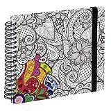 """Hama Spiral-Buch """"Colorare"""" (Buch mit 50 weißen Seiten und Spiralbindung, mit Blütenranken-Design zum Ausmalen, Format 28x24cm, Fotobuch/Malbuch für Erwachsene) schwarz-weiß"""