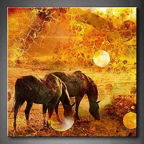 Jaune Orange Chevaux dans une prairie Romance Fond Jaune Peinture