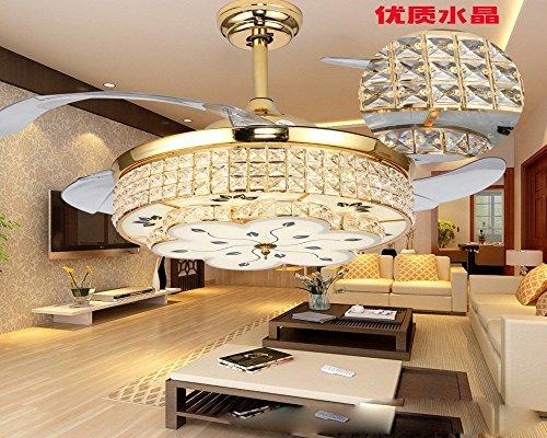 MOMO Personalisierte dekorative Beleuchtung Restaurant unsichtbare Fan Lampe, Double Color Light, chinesischen Stil Frequenzumbau Motor, Wohnzimmer Mode, einfache moderne Deckenventilator Lampe,Wands (Tiffany Wand-abziehbilder)