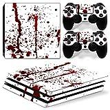 Stillshine PS4 Pro Skin Aufkleber Sticker Design Folie schützende Haut Schale für Sony Playstation 4 Pro Konsole & 2 Dualshock Controller (Blood)
