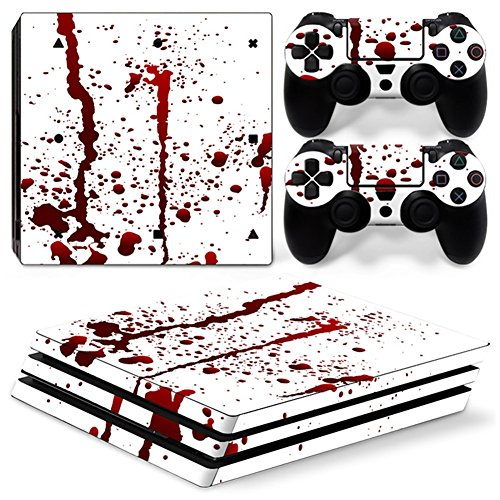 Stillshine PS4 Pro Vinyl Skin Decal Autocollant Sticker pour Playstation 4 Pro console & 2 Dualshock Manette Set (Blood)