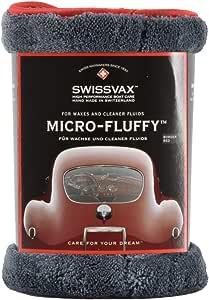 Swissvax Micro Fluffy Premium Wachstuch Ultraweich Doppelflausch 38x38cm Anthrazit Rot Auto