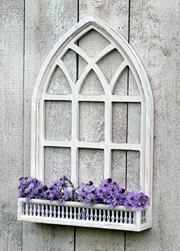 Wunderschönes Sprossenfenster zum Bepflanzen oder Dekorieren - zum Aufhängen oder Aufstellen - Weiß - 2 Größen erhältlich (Höhe: 66cm)