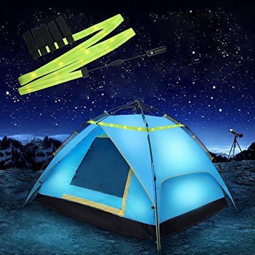 fourHeart Camping LED Lichtband USB betriebenes 1.9M LED Streifen LED Stripe für Zelt Beleuchtung, Zeltlampe Nachtlampe für Camping, Wandern, Romantische Atmosphäre und Notbeleuchtung 3 Beleuchtungsmodi und 5 Pcs Installation Klett - Warmweiß