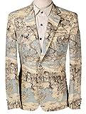 Veste de costume Blazer Homme mariage Slim Fit causal Tuxedo un bouton Chic fête moderne Imprimé distingué