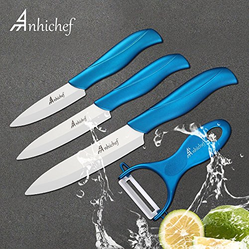 Keramikmesser Set, Küchenmesser aus Keramik 3-teilig Messer (5 inch Chefmesser, 4 inch Mehrfunktionalmesser, 3 inch Obstmesser) und 1 Sparschäler, Blaun Messer mit Weiß Klinge und Schutzhülle (Weiße Keramik-küchenmesser)