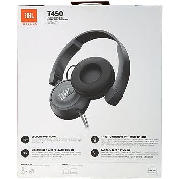 JBL T450 Extra Bass On-Ear Headphones with Mic (Black)