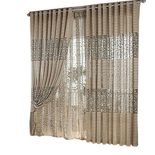 Tongshi Árbol de hoja Tulle Puerta cortina de la ventana del Panel Drape cenefas bufanda Sheer