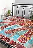 RAJRANG Diseñador del bordado de los cequis Patch Work Doble Medida de la hoja de cama de lujo