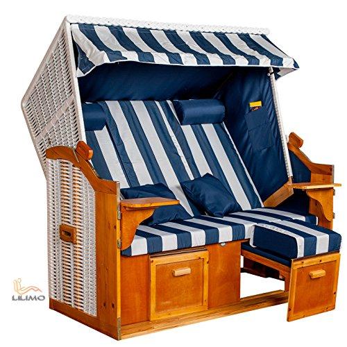 Strandkorb Ostsee BWH XXL, Bezug blau-weiß Blockstreifen, LILIMO ®