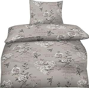 2-Teilig Hochwertige Biber Bettwäsche Elise beige mit Reißverschluss 1x 135x200 Bettbezug + 1x 80x80 Kissenbezug GRATIS 1x SCHAL GRATIS