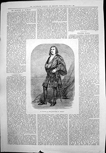 Antiker Druck Kostüm-Porträt-Klinge 1875 M. Fechter Character Hamlet (Hamlet Kostüme)