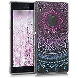 kwmobile Funda TPU silicona transparente para Sony Xperia Z3 en azul rosa fucsia transparente Diseño sol indio