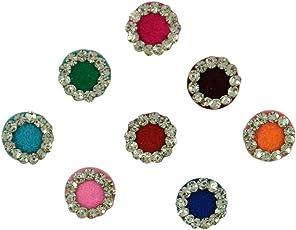 INSTABUYZ Women's Bindi(BND-00333-RND-GLD-RD-6PC, Multicolour)
