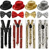 GUBA® SPARKLY SEQUIN ADULTS HAT BRACES DICKY DICKIE BOW TIE FANCY DRESS PARTY SET (Gold Sequin 3Pcs (Hat+Bow Tie+Braces))