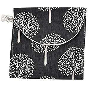 sourcingmap® Linen Rectangle Tree Pattern Sanitary Towel Napkin Pad Bag Pouch Holder