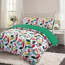 Juego de ropa de cama compuesto por funda de edredón y funda de almohada, térmico, 100% franela de algodón cepillado, estampado de hojas de estilo retro, Virdis Green, matrimonio grande
