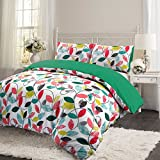 3pc Luxury Retro Leaf Soft 100% Cotton Soft Touch Thermal Flannelette Brushed Quilt Duvet Cover Set - Double - Virdis Green