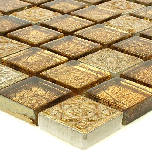 Glas Naturstein Mosaik Fliesen Coloniale Gold